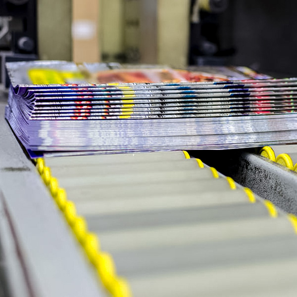 bound magazines on the production line